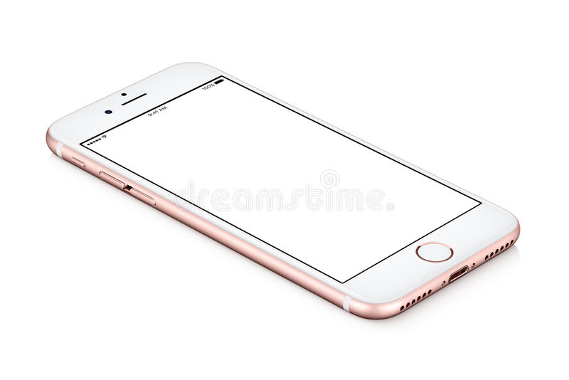 Rose Gold Apple iPhone 7 mockup lies on the surface with white blank screen stock photo