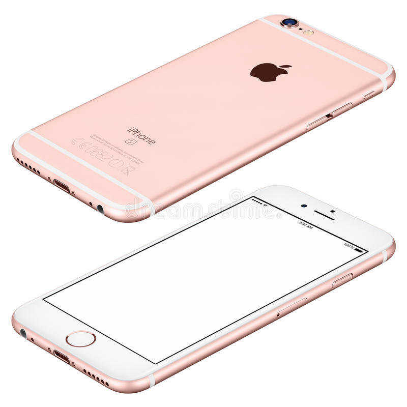 Rose Gold Apple iPhone 6s mockup lies on the surface clockwise royalty free stock images
