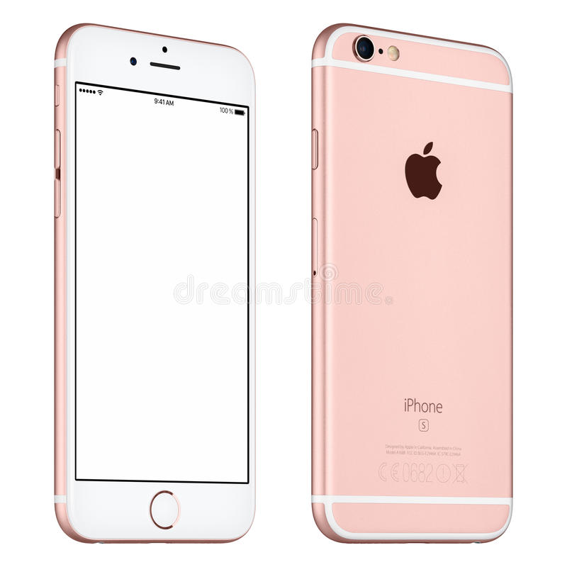 Rose Gold Apple iPhone 6S mockup slightly rotated front view royalty free stock photos