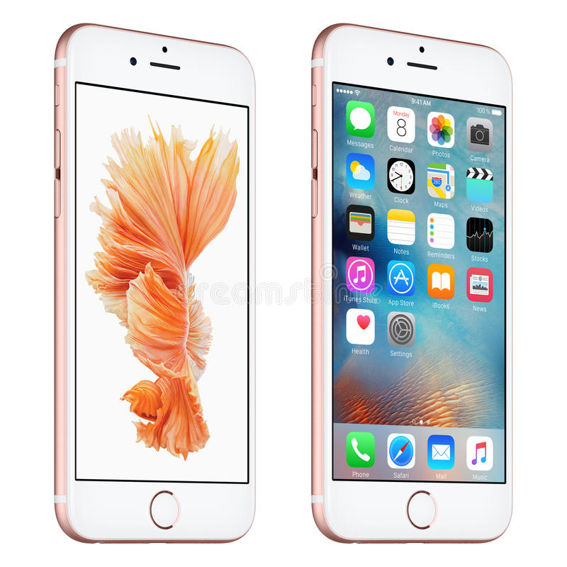 Rose Gold Apple iPhone 6s slightly rotated front view with iOS 9. Varna, Bulgaria - October 24, 2015: Rose Gold Apple iPhone 6S rotated at a slight angle bottom stock illustration