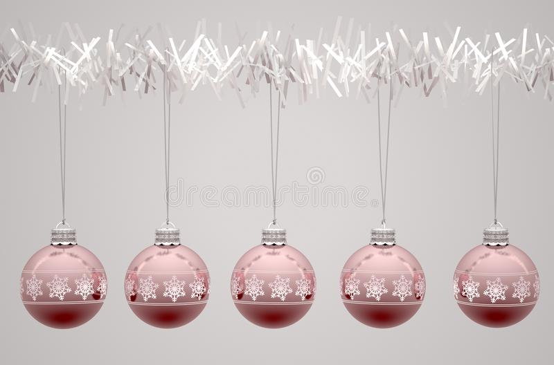 Rose Gold Christmas Baubels illustrazione di stock