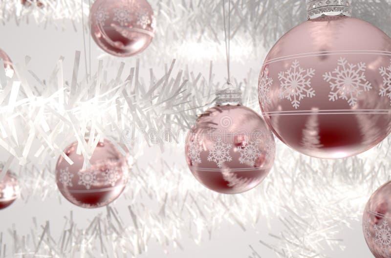 Rose Gold Christmas Baubels illustration libre de droits