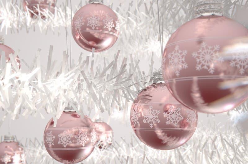 Rose Gold Christmas Baubels vektor abbildung