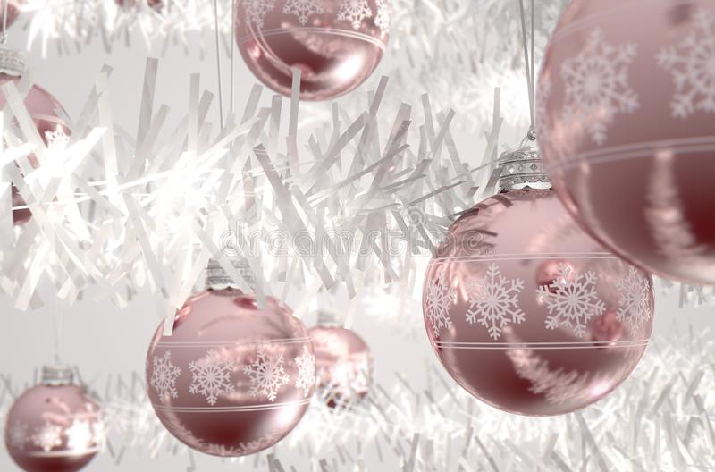 Rose Gold Christmas Baubels illustration de vecteur