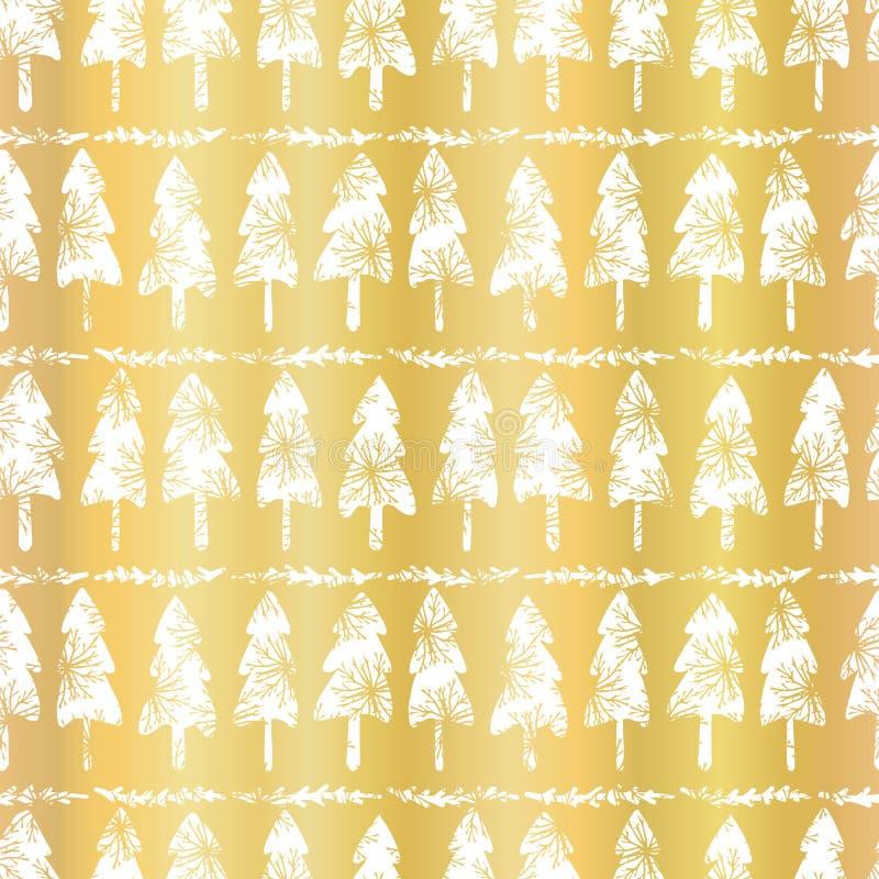 Rose Gold Christmas Tree Pattern de lujo, fondo inconsútil del vector stock de ilustración