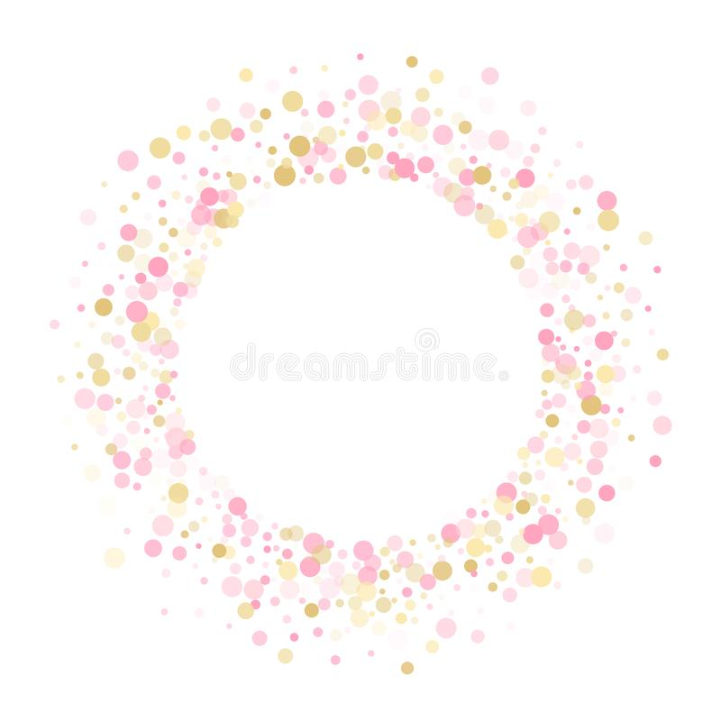 Holiday vector decor. Gold, pink and rose color round confetti dots, circles scatter on white. Fashionable bokeh background stock illustration