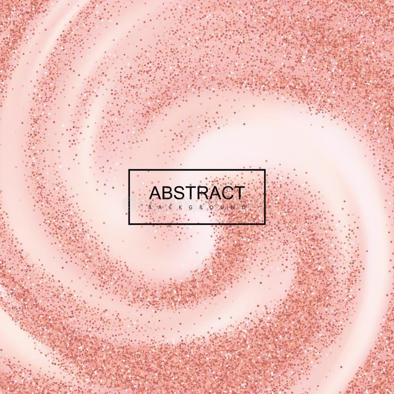 Rose Gold Confetti Glitters On krämig virvlande runt bakgrund royaltyfri illustrationer