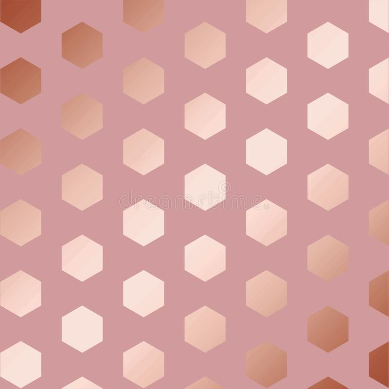 Rose gold. Decorative vectorial pattern with hexagons royalty free stock photography