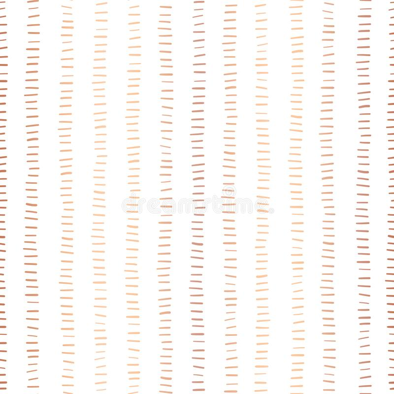 Rose Gold foil stripes seamless vector pattern. Horizontal copper strokes in vertical lines on white background. Elegant design. For digital paper, page fill stock illustration