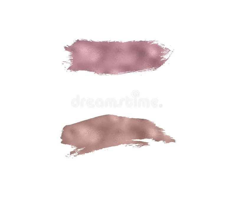 Rose gold foil watercolor brush stroke texture. Smudge glitter copper, sparkle glossy paint on the white background. Vector illust. Ration stock illustration