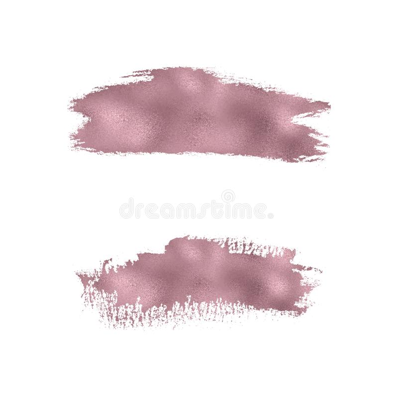 Rose gold foil watercolor brush stroke texture. Smudge glitter, sparkle gloss paint on the white background. Vector illustration vector illustration
