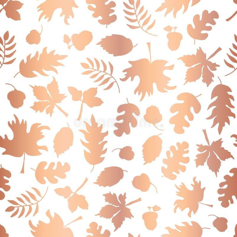 Rose Gold-Folienherbstblatt silhouettiert nahtlosen Vektorhintergrund Kupferne glänzende abstrakte Fallblattformen auf weißem Hin lizenzfreie abbildung