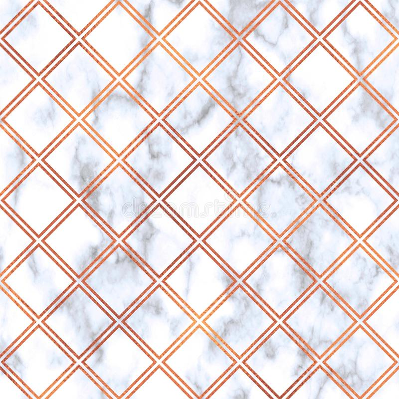 Rose Gold square on marble background,Rose Gold texture. Rose Gold geometric marble pattern. Rose Gold marble Wallpaper royalty free illustration