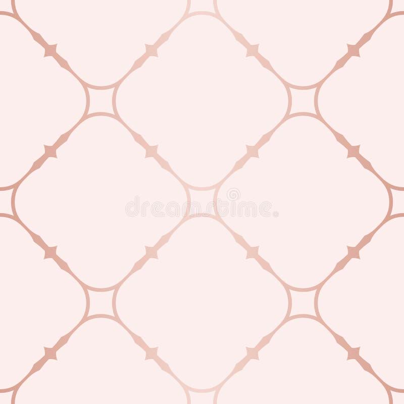 Rose Gold Geometric Seamless Pattern Beschaffenheit mit kupfernen Linien, quadratisches Gitter stock abbildung