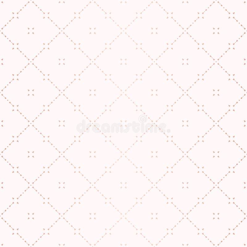 Rose Gold Geometric Seamless Pattern Ornamento sutil del vector con las líneas finas stock de ilustración