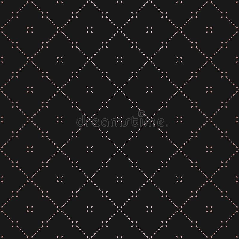 Rose Gold Geometric Seamless Pattern Ornamento sutil del vector con las l?neas finas stock de ilustración