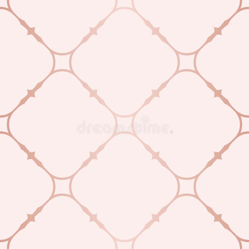 Rose Gold Geometric Seamless Pattern Textura con las líneas de cobre, rejilla cuadrada stock de ilustración