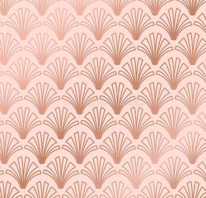 Rose Gold Geometric Shell Gatsby Art Deco Pattern Design royaltyfri illustrationer