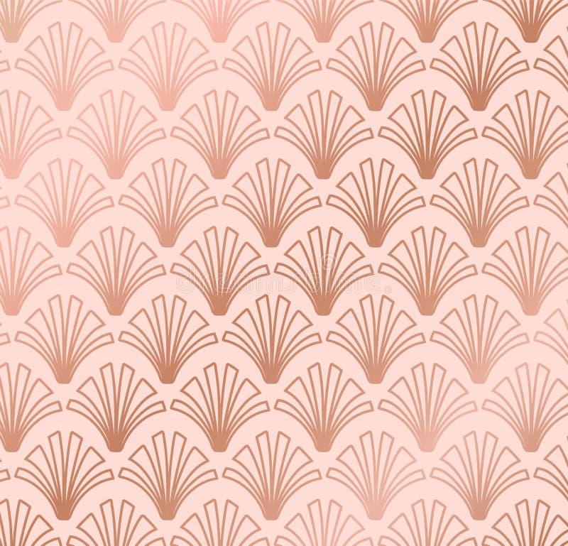 Rose Gold Geometric Shell Gatsby Art Deco Pattern Design illustration libre de droits