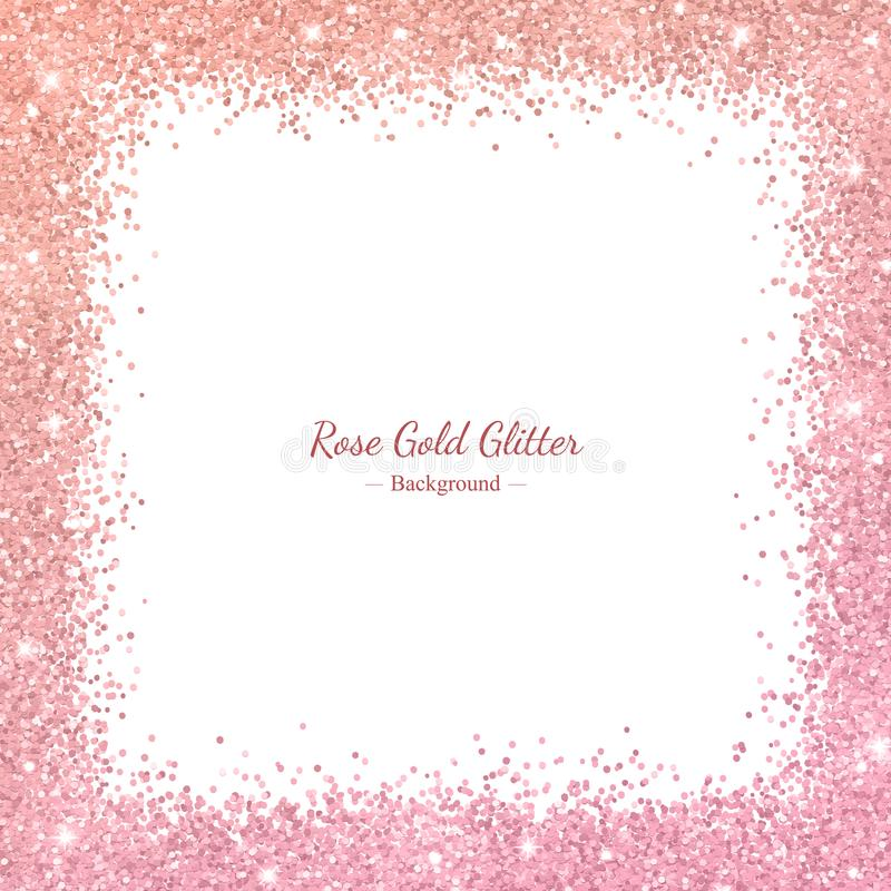 Rose gold glitter border frame with color effect on white background. Vector vector illustration
