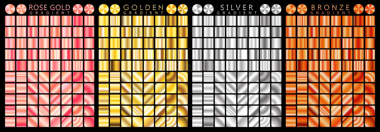 Rose gold, golden, silver, bronze gradient,pattern,template.Set of colors for design,collection of high quality gradients.Metallic vector illustration