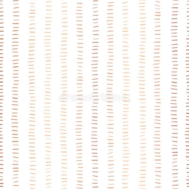Rose Gold-het naadloze vectorpatroon van foliestrepen Horizontale koperslagen in verticale lijnen op witte achtergrond Elegant on stock fotografie