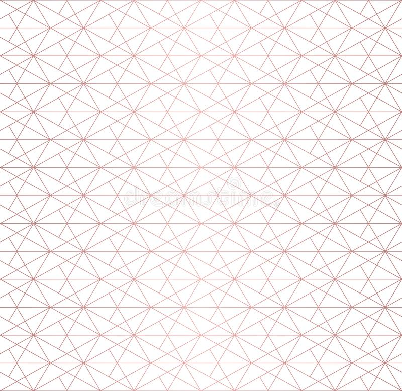 Rose gold lines pattern. Vector geometric linear seamless texture. Luxury design royalty free illustration