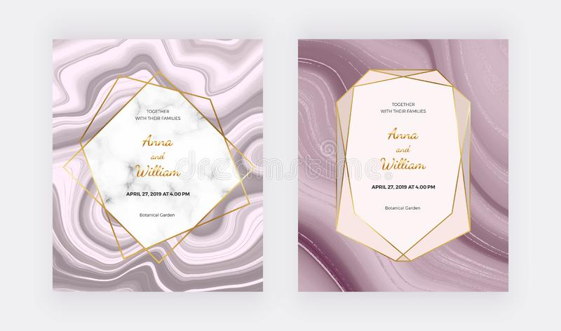 Rose gold liquid wedding invitation card with marble frame and golden lines. Cover ink painting abstract pattern. Trendy backgroun. D for wallpaper, flyer stock illustration
