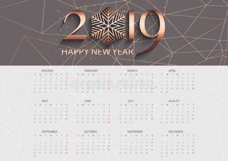 Rose gold low poly calendar design vector illustration
