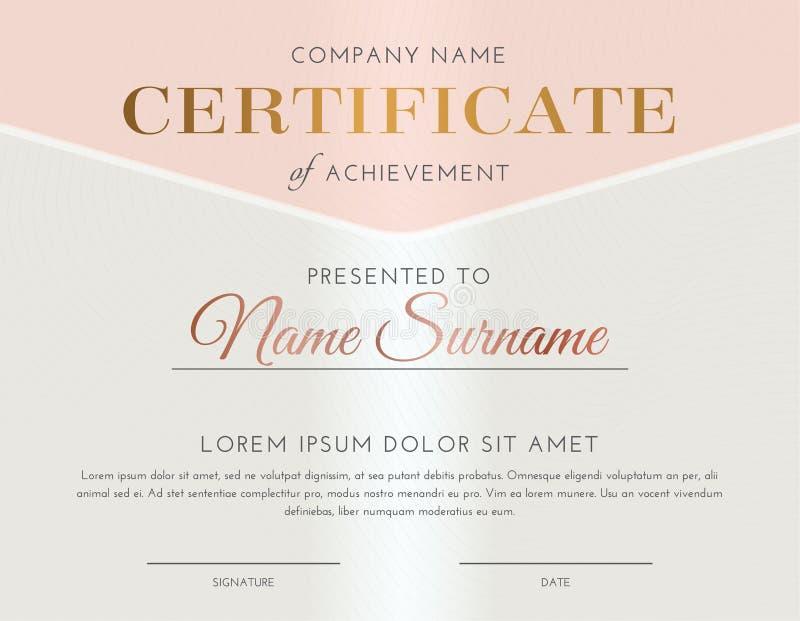 Rose Gold Luxury Feminine Certificate stock illustratie