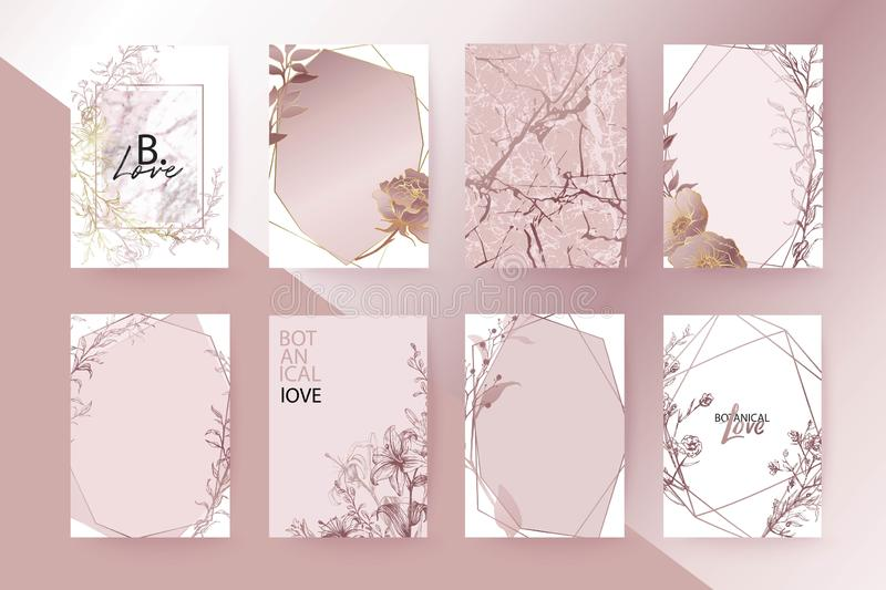 Rose gold marble texture card. Floral, lilies, roses bouquet wedding invitation design. Brochure, cover template. royalty free illustration