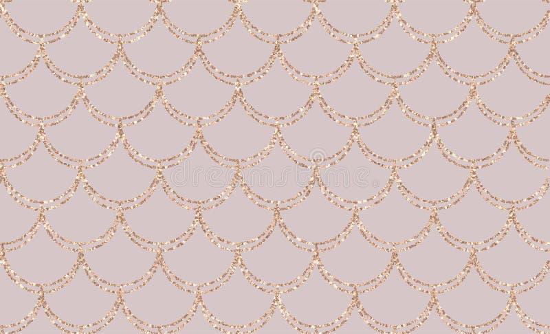 Rose gold mermaid tail seamless pattern. Elegance Mermaid card royalty free illustration