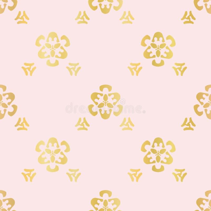 Rose Gold Ornamental Lattice Pattern de lujo, vector inconsútil, dibujado ilustración del vector