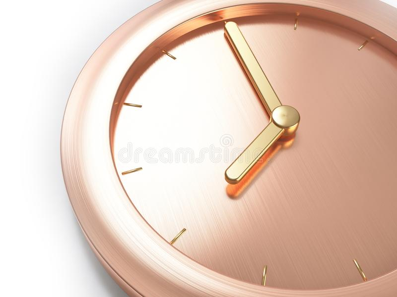 Rose gold,pink gold metallic minimal clock,close up composition eight o`clock abstract 3d render. Ing royalty free stock image
