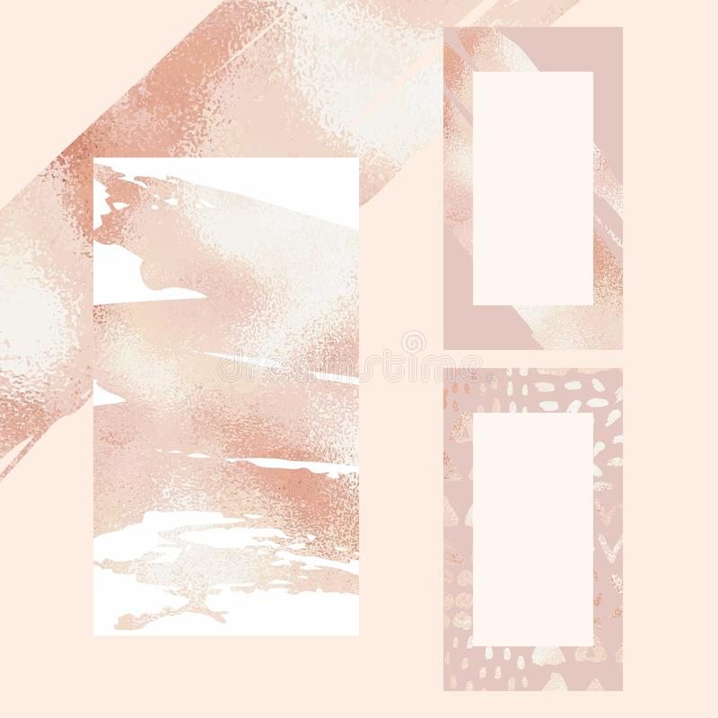 Rose gold. Set of vector backgrounds for social media and blogs stock image