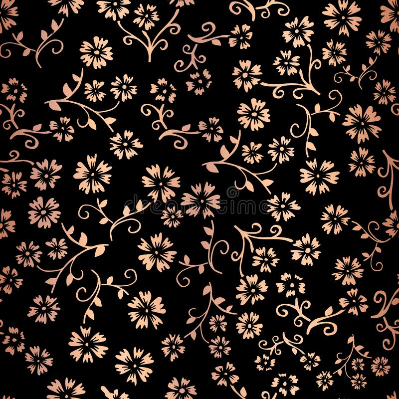 Rose Gold-vector naadloze het patroonachtergrond van de foliebloem Elegant koper bloemen op zwarte achtergrond Voor digitaal docu vector illustratie