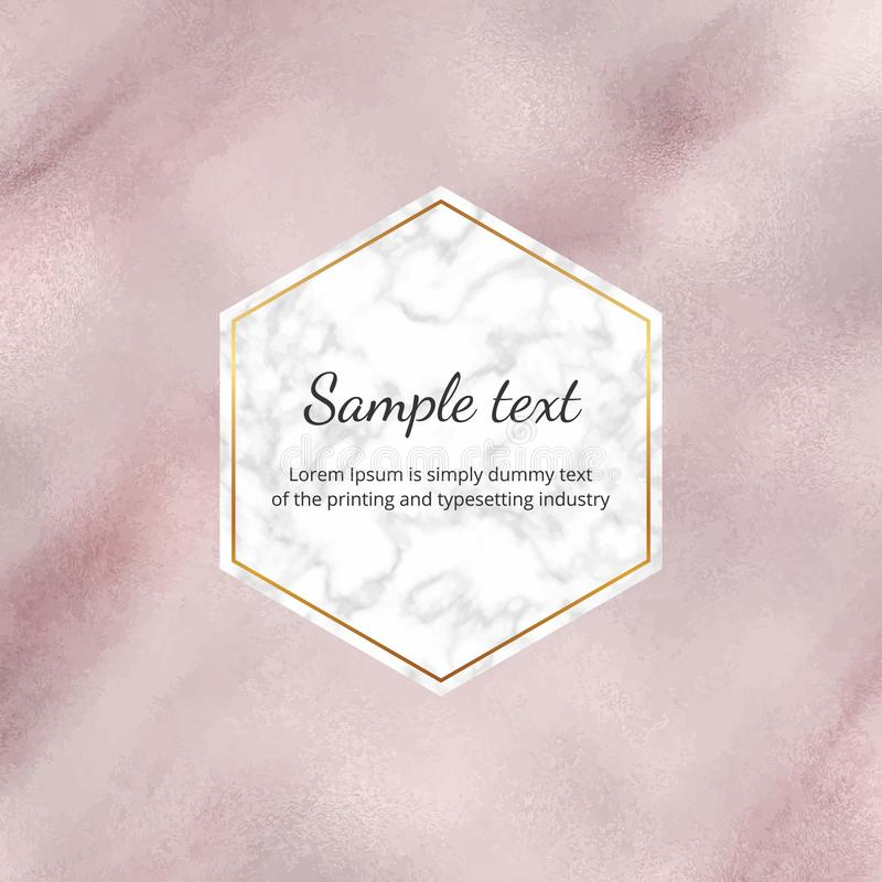 Rose gold watercolor foil banner with marble frame. Hand painted paper texture. Modern template for wedding invitation, greeting, royalty free illustration