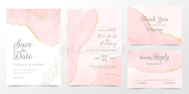 Rose gold wedding invitation cards template set. Artistic watercolor background of pink brush stroke splash. Abstract foil design vector illustration