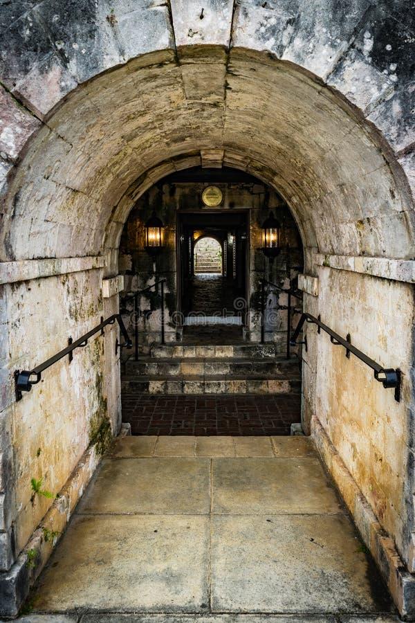 Rose Hall Great House en Montego Bay, Jamaica Vista de la entrada al sótano/a la barra de la entrada trasera fotos de archivo