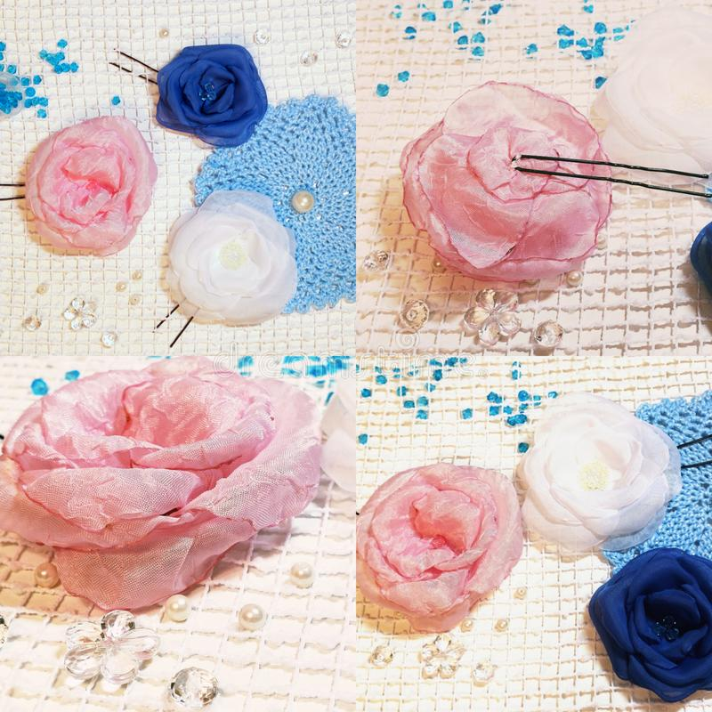 Rose handmade flowers. Needlework roses blueflowers awesome amazing crochet crocheting kniting creative beads whiteflower wedding jewelry design creator decor stock photography