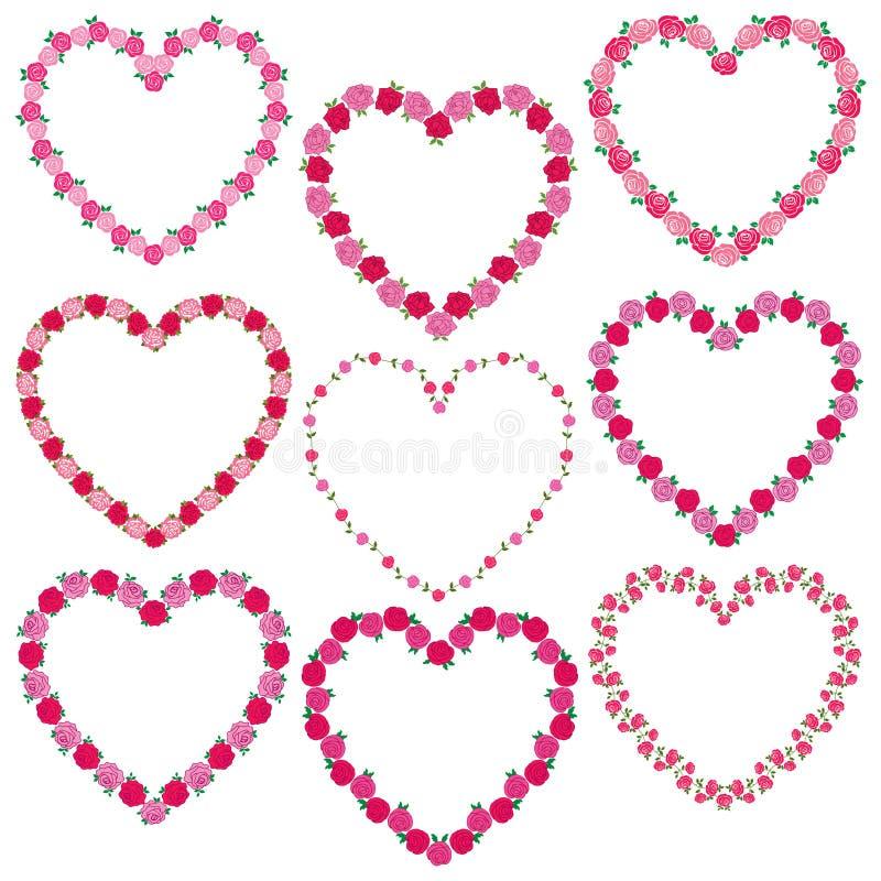 Rose heart frames stock illustration