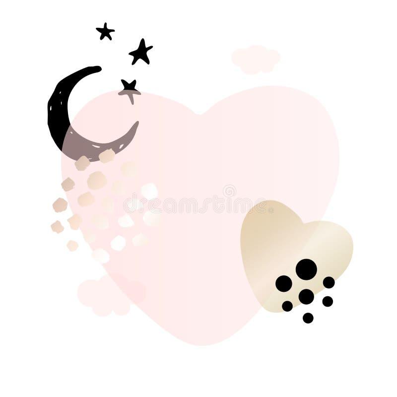 Rose hearts, moon, stars, clouds. Beauty identity elegant style. royalty free illustration