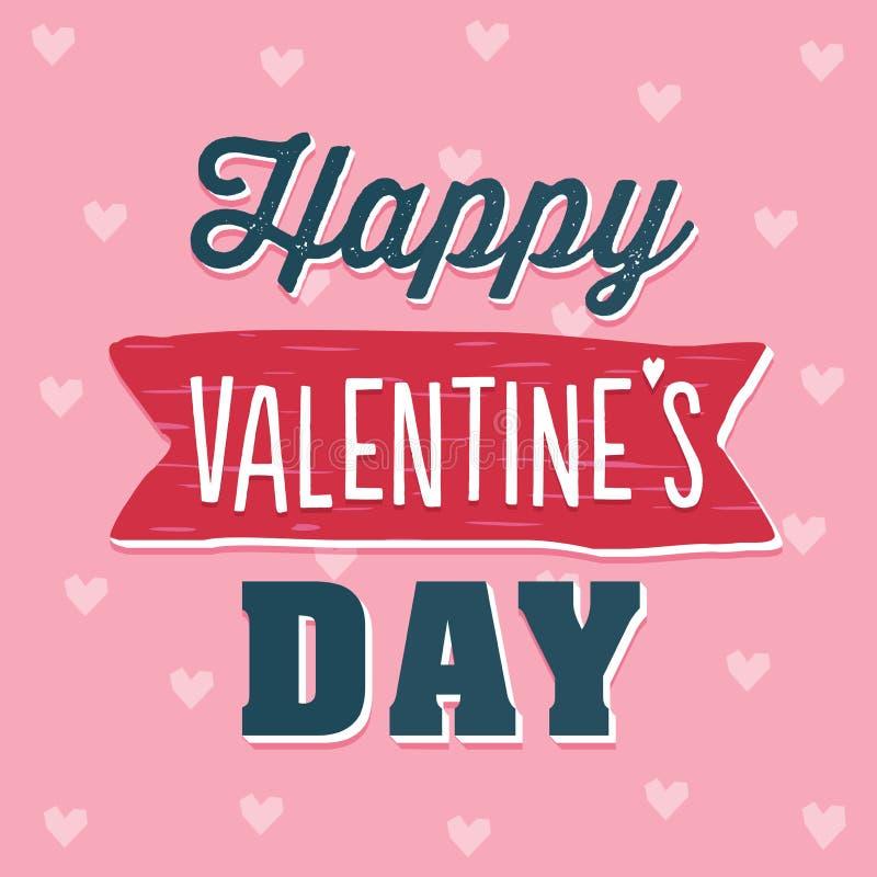 Rose heureux mignon et marine de carte des textes de jour de valentines illustration de vecteur