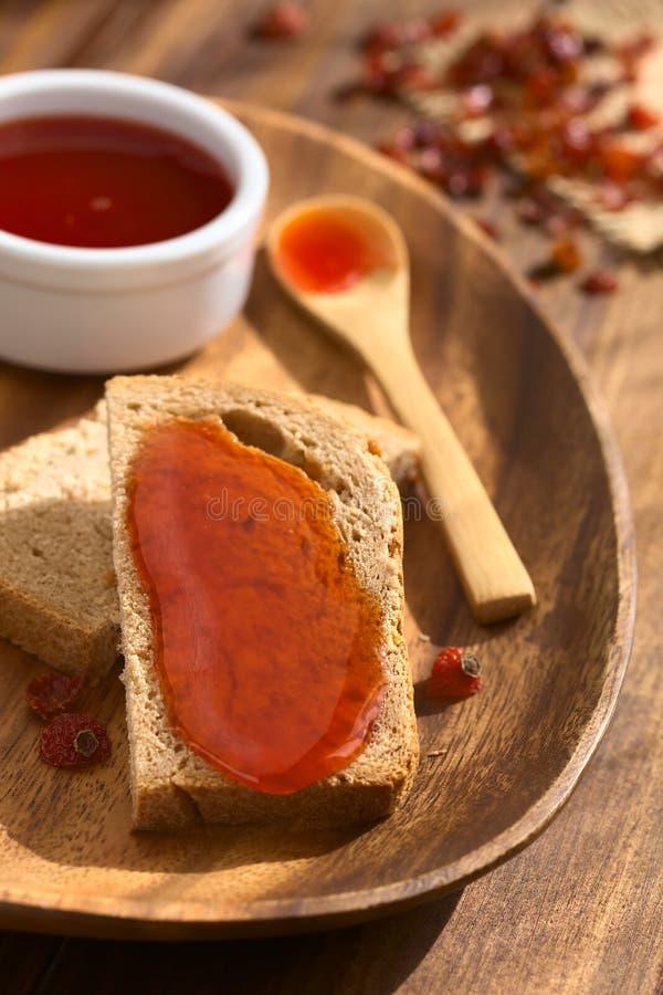 Rose Hip Jam no pão imagens de stock