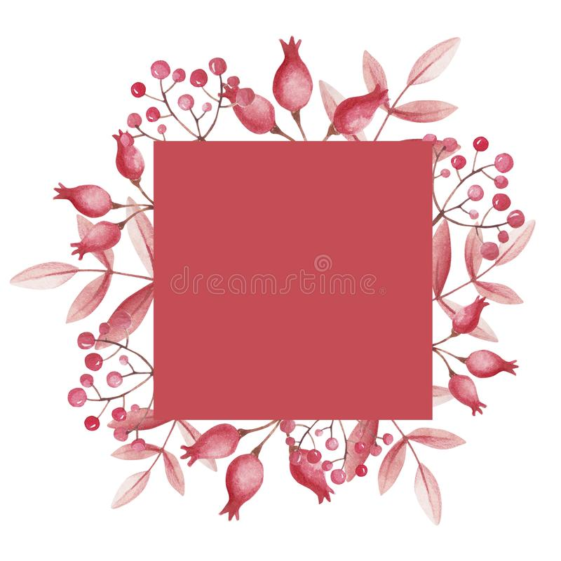Rose hips and mountain ash frame for store sale. Watercolor leaves. royalty free illustration