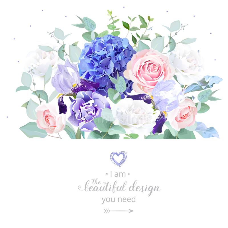 Rose, Hortensie, Eukalyptus, Iris, Gartennelke vektor abbildung