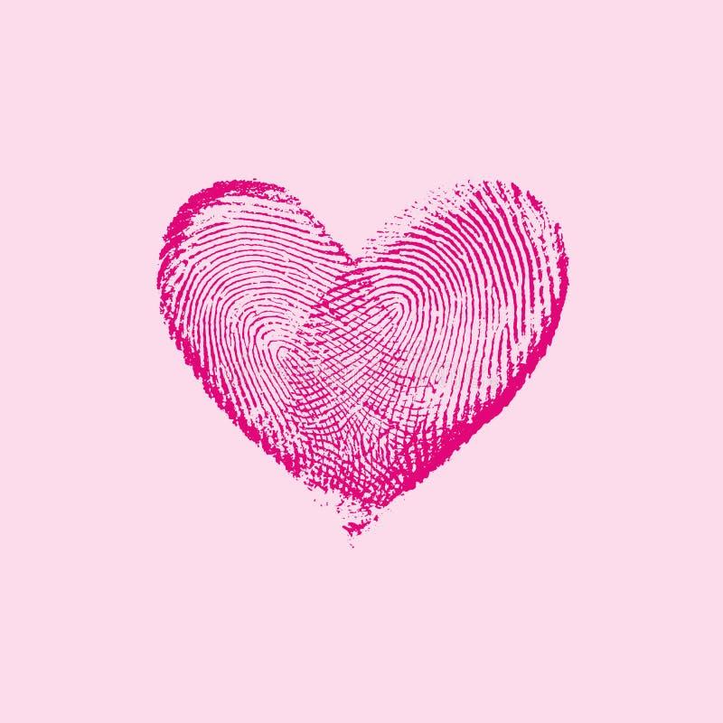 Rose I de coeur d'empreinte digitale images libres de droits