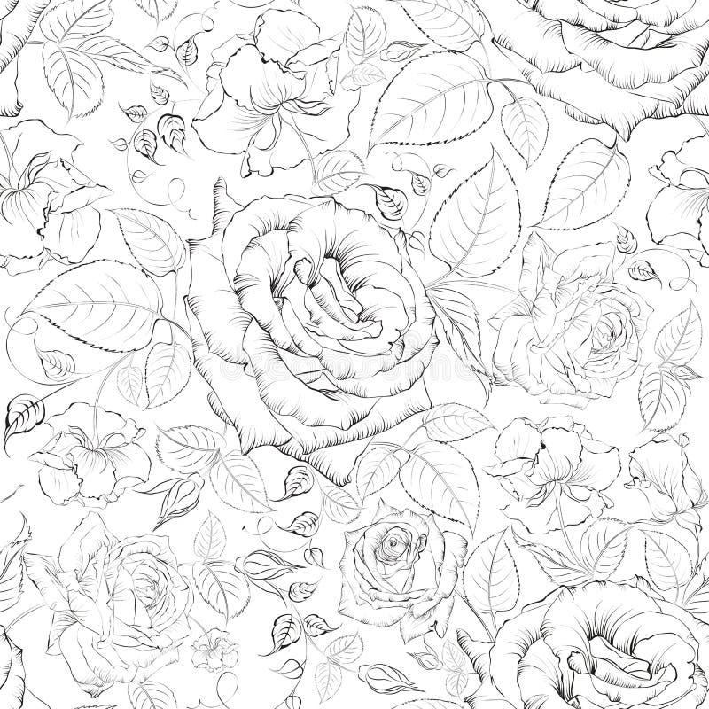 Rose inconsútil. stock de ilustración