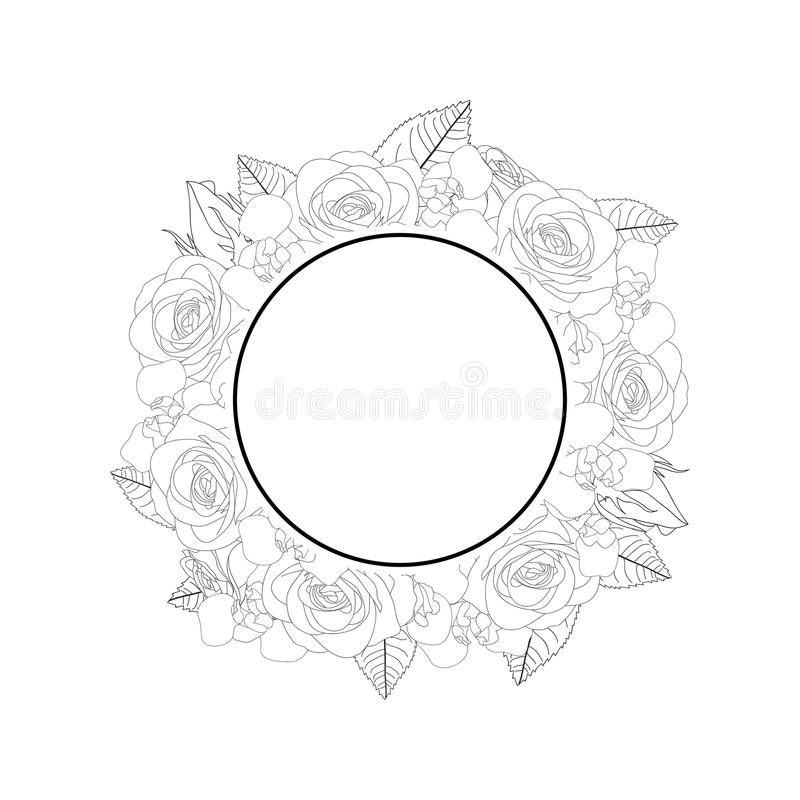 Rose and Iris Flower Banner Wreath Outline. isolated on White Background. Vector Illustration royalty free illustration