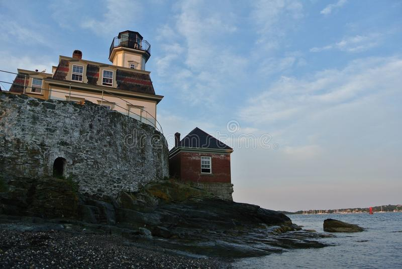 Rose Island Lighthouse, RI. The Rose Island Lighthouse stands as a symbol of history off the coast of Newport, RI stock image